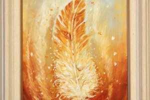 """Tiina Ojaste """"Kuldkollane sulg"""" (õli) 21 x 25,5 cm. Hind 180.-"""