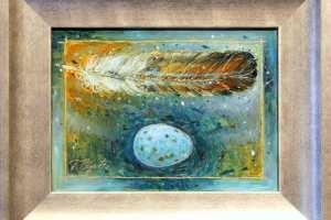 """Tiina Ojaste """"Sulg ja sinine muna"""" (õli) 22 x 27 cm. Hind 300.-"""