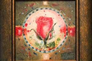 """Tiina Ojaste """"Roosinupp"""" (õli) 2017. 25 x 25 cm. Hind 220.-"""