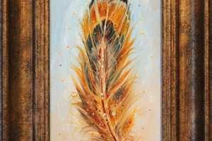 """Tiina Ojaste """"Sulgpehme"""" (õli) 17,5 x 22,5 cm. Hind 180.-"""