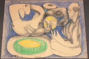 Andrus-Kasemaa---Ringis-(Pühendatud-Viiraltile),-pastell,-süsi,-2002,-70-x-51-cm