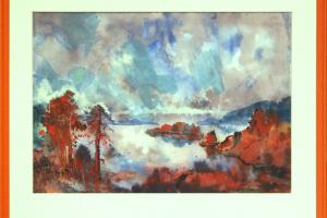 Bernhard Mark (akvarell) 52 x 42 cm. 320.-