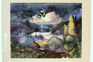 Bernhard Mark (akvarell) 60 x 70,5 cm. 300.-