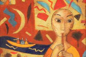 """Inge Kudisiim """"Kevadjõel"""" (akrüül) 2020. 20 x 20 cm"""