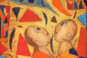 """Inge Kudisiim """"Õhus"""" (akrüül) 2020. 20 x 20 cm"""