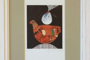 """Jüri Mildeberg """"Linnu maja"""", serigraafia, 34,5 x 25,5 cm, hind 150.-"""