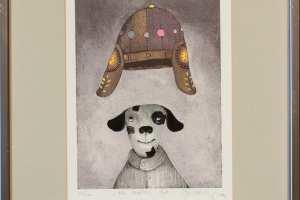 """Jüri Mildeberg """"His masters hat"""", serigraafia, 41,5 x 33 cm, hind 200.-"""