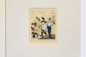 """Kadi Kurema """"Kannab kätel"""" (ofort). 29 x 33 cm."""