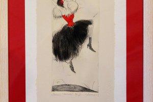 """Punane"" (kuivnõel) 2003. 33 x 54 cm"