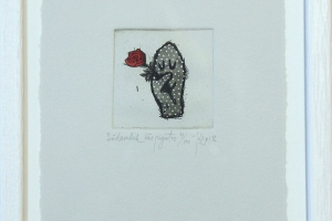 """""""Südamlik käepigistus"""" (ofort) 2018. 17 x 23 cm"""