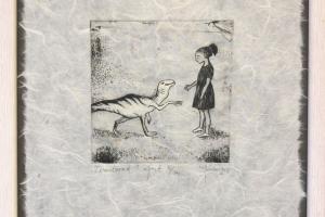"""Tervitavad"" (ofort). 23 x 26 cm."