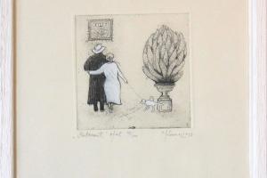 """Kadi Kurema """"Postament"""" (ofort) 2013. 27 x 23 cm"""