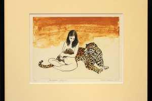"""Kalli Kalde """"Perekond jaaguar"""" litograafia. 2012. 40,5 x 36 cm. Hind 150.-"""