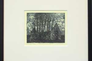 """Kalli Kalde """"Hüljatud külad III"""" (sügavtrükk) 30,5 x 29,5 cm. Hind 130.-"""