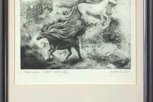 """Külliki Järvila """"Passioon"""" (ofort, metsotinto) 2001. 32 x 23 cm."""