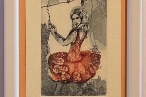 """""""Roosa kleit"""" 17 x 12 cm, hind 32.-"""