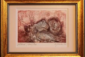 """""""Lõvid"""" 25,5 x 19,5 cm, hind 50.-"""