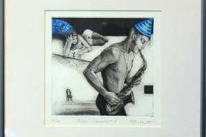 "Made Balbat ""Blues"" (kuivnõel), 38,5 x 38,5 cm"
