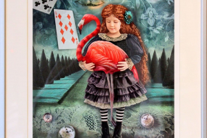 "Made Balbat ""Alice flamingoga"" (digigraafika) 2020. 52 x 44 cm"