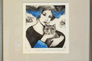 "Made Balbat ""Tüdruk kassiga"" kuivnõel 35,5 x 40 cm"