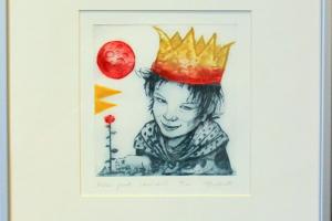 """Made Balbat """"Väike prints"""" kuivnõel, 40 x 36,5 cm"""