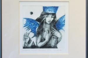 """Made Balbat """"Salajased mängud"""" (kuivnõel) 40 x 39,5 cm"""