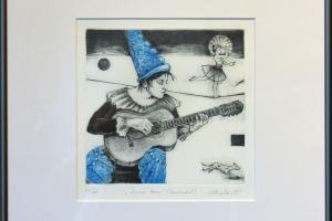 """Made Balbat """"Sinine kuu"""" (kuivnõel) 40 x 39,5 cm"""