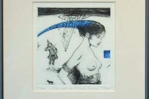 "Made Balbat ""Pika patsiga tüdruk"" (kuivnõel) 32 x 35 cm"