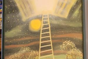 """Margus Rump """"Taevaluugid on täna valla"""" (õli) 2007. 79 x 62 cm. 600.-"""