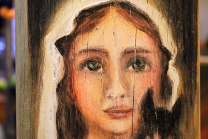 """Monica del Norte """"Noor Püha Gertrude de Nivelles, kasside kaitsja"""" 2018, 19 x 14 cm"""