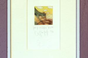 """Navitrolla """"Koer müüril"""", kuivnõel, 1996, 19 x 25 cm."""