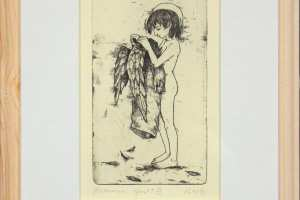 "Reti Saks ""Hommik"" (ofort) 1995. 32 x 23,5 cm."