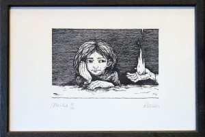 "Reti Saks ""Mõtleb"" 2001. 27 x 19 cm."