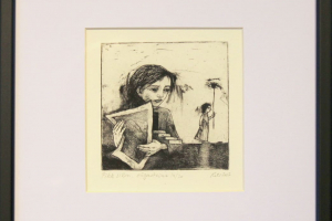 "Reti Saks ""Pikk silm"" (sügavtrükk) 2017. 27,5 x 25,5 cm."