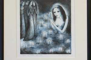 """Silvi Liiva """"Valgust süütamas"""" (ofort) 2014. 34,5 x 29 cm"""