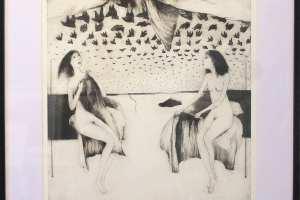 """Silvi Liiva """"Kohtumine"""" (ofort) 2011. 62 x 72,5 cm"""