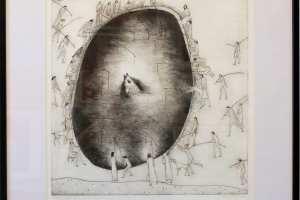 """Silvi Liiva """"Kala II"""" (ofort) 2010, 58 x 63 cm"""