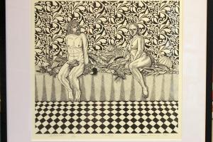 """""""Natüürmort Adama ja Evaga"""" 67 x 67 cm, linoollõige 2011, tõmmis 17/24, hind 375€"""