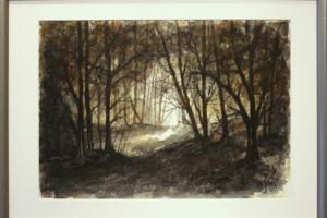 """Ylo kunks """"Metsavalgus"""" akvarell. 2019. 73,5 x 53 cm. Hind 350.-"""