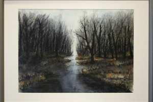 """Ylo Kunks """"Kevad. metsakraav"""" akvarell. 2019. 73,5 x 53 cm. Hind 350.-"""