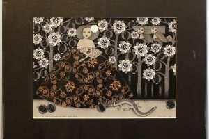 """Viive Noor """"Öine jalutuskäik granaadipuude salus"""" 2014. 50 x 60 cm"""