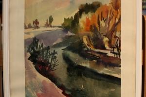 Maastik Võrumaa lähistel akvarell 1963 Viivi Perv 125.-