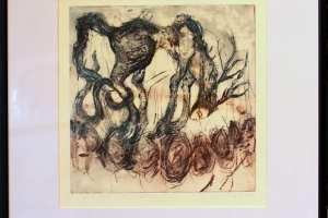 """Yyhely Hälvin """"Nägin und"""" (kuivnõel) 2016. 49 x 52 cm"""