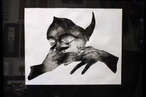 """Öölane"" (kuivnõel) 2020. 73 x 53 cm"